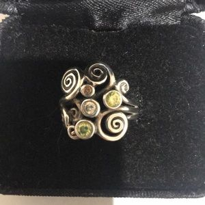 Multi Color Stone Pandora Ring Size 7